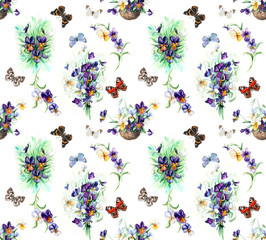 Seamless pattern of violets. Violets background, watercolor composition. Flower backdrop. Decoration with blooming violets, hand-drawing. Bouquet of  violets. Illustration. White background