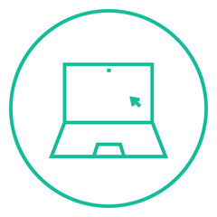 Laptop with cursor line icon.