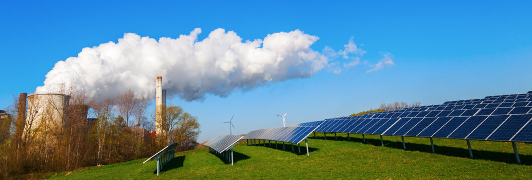solar collectors and fossil-fuel power station