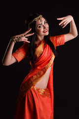 f45a18c36c Beautiful Young Indian Woman in red Traditional Clothing with ...