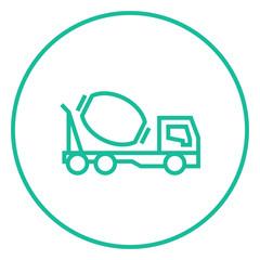 Concrete mixer truck line icon.