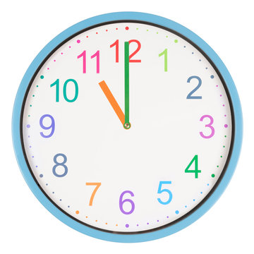 Colorful clock showing eleven o'clock