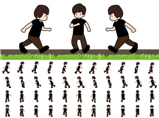 Phases of Step Movements Man in Running Walk Sequence for Game Animation