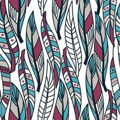 seamless abstract pattern with colorful feathers