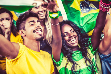 Brazilian Supporters Cheering at the Stadium