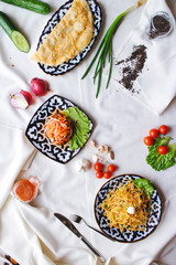 Central Asian food on the table