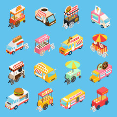 Street Food Carts Isometric Icons Set