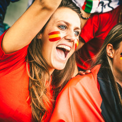 Spanish Young Woman Cheering at the Stadium