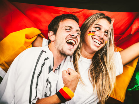 German Young Couple Supporting the Team