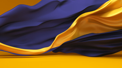 Background with ribbons developing the wind blue and gold color