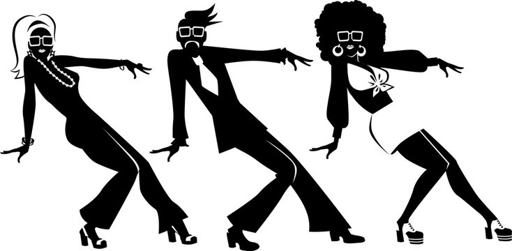 EPS 8 vector silhouette of three people dressed in 1970s fashion dancing, no white objects