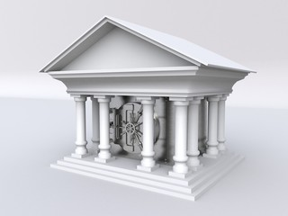 3D illustration of a bank building with a metal safe inside
