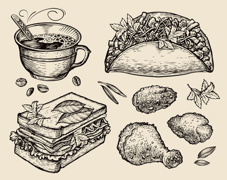 fast food. hand drawn coffee cup, tacos, sandwich, chicken in breadcrumbs. sketch vector illustration