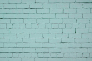 Blue teal painted brick wall background