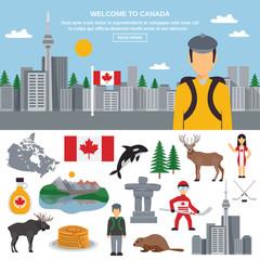 Flat icon set of Canada