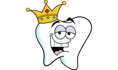 Cartoon illustration of a tooth wearing a crown.