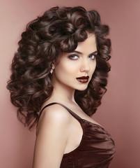 Beauty fashion portrait of Beautiful woman with dark lips makeup