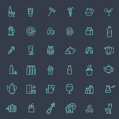 Outline web icon set - drink coffee, tea, alcohol