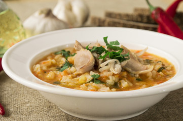 Soup with chicken and rice.