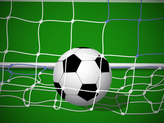 Soccer / Football Ball in Net. Goal. Vector Illustration