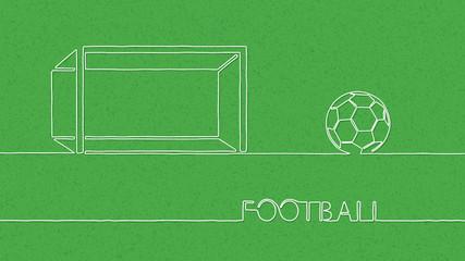 Soccer and Football Line-art Background. Vector Illustration