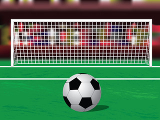Soccer Ball On The Penalty Spot At The Stadium. Vector Illustration
