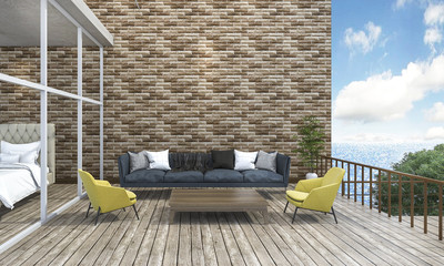 3d rendering living style sofa outdoor terrace near the sea