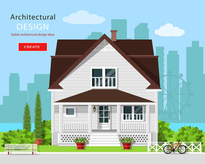 Modern graphic architectural design. Colorful cute house with yard, bench, trees, flowers and city background. Stylish european house. Flat style vector illustration.