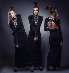 Model beautiful women in fashionable clothes and accessories sh