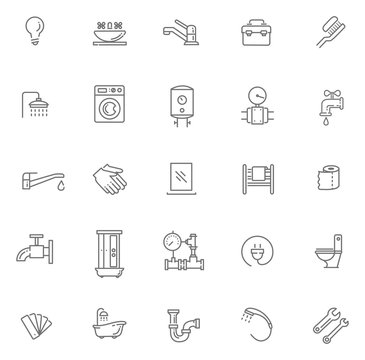 Vector plumbing outline icons set