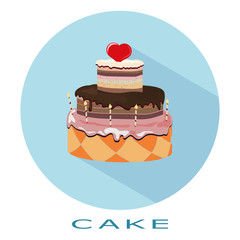 Flat simple icon  cake on a blue circle. It is easy to change th