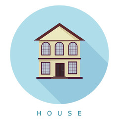 Flat simple icon two-storey house on a blue circle. It is easy t