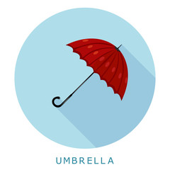 Flat simple icon umbrella on a blue circle. It is easy to change