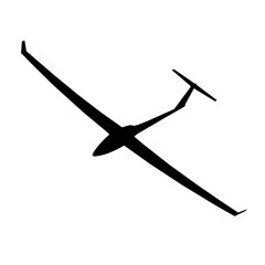 The black silhouette of a glider is not a white background. Vect