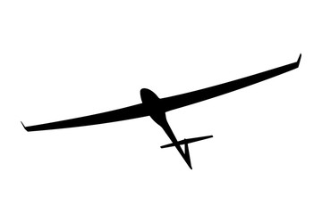 Black silhouette of a glider is not a white background. Vector i