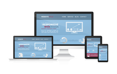Responsive web desing vector on different devices.