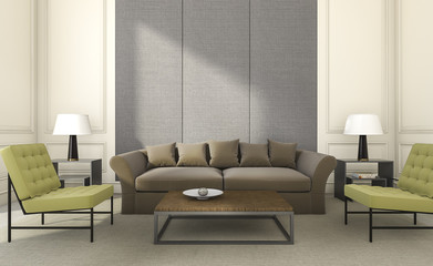3d rendering nice seat and sofa in bright living room