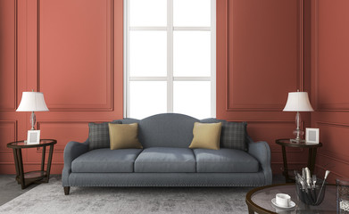 3d rendering classic blue sofa in red living room