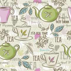 Beige seamless patterns with tea set, leafs, cup,kettle, flower