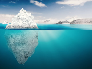 Poster Glaciers iceberg on blue ocean