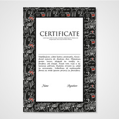 Graphic design template document with abstract monsters.