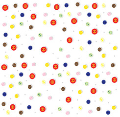 vector abstract background with painted buttons and speckled, baby vector background for design