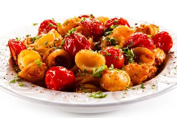 Orecchiette pasta, tomato sauce and vegetables