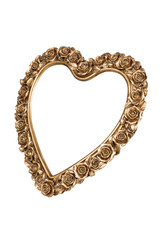 Bronze heart picture frame isolated on white with clipping path.