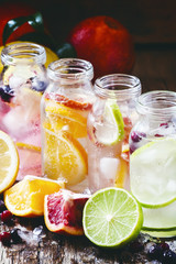 Fizzy water with citrus fruit, fresh berries and crushed ice, vi