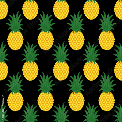 Seamless Pineapple Background Cute Vector Pattern Summer Fruit Illustration Design For Fabric