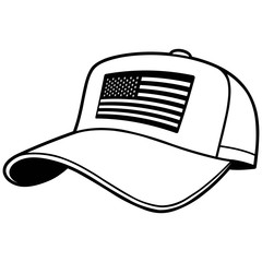 Baseball Cap with US Flag Illustration