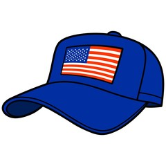 Blue Baseball Cap with US Flag