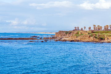Sea Coast and Ruins of Caesarea Maritima, Israel