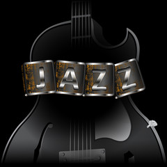 guitar with the words jazz